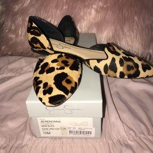 Jessica Simpson Leopard Hair Flats Size 10